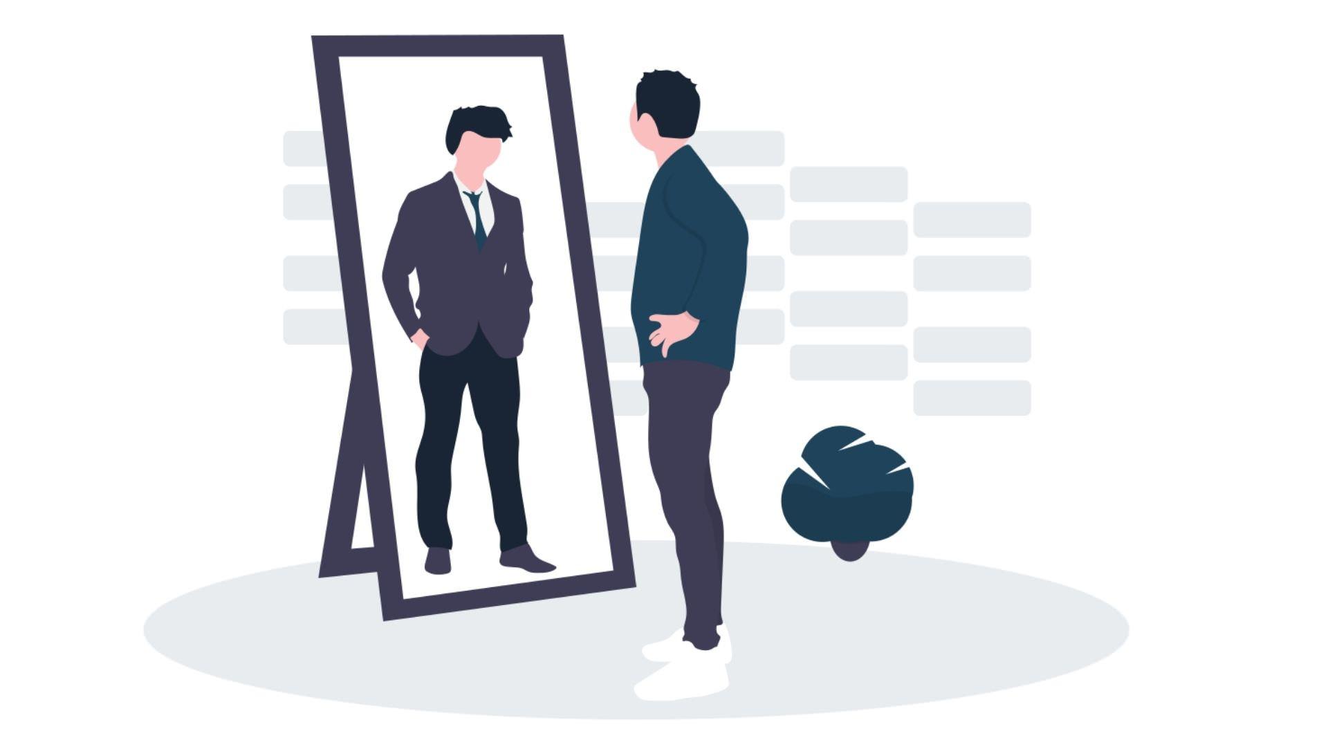 鏡に写る自分を見る男性