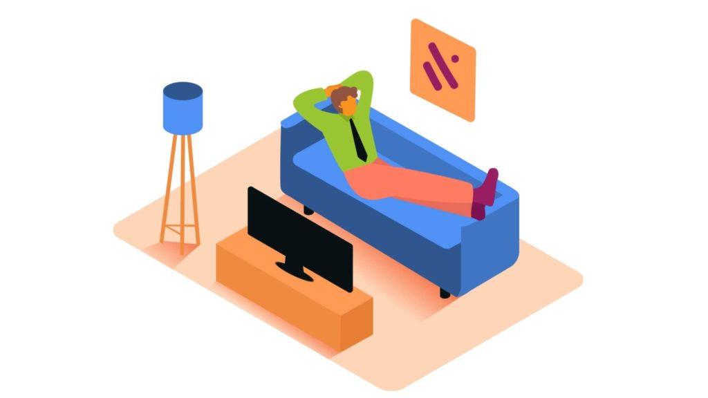 ソファーで横になる男性