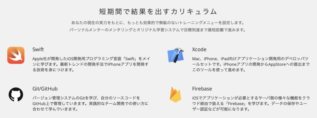 iPhoneアプリ(swift)コースのカリキュラム