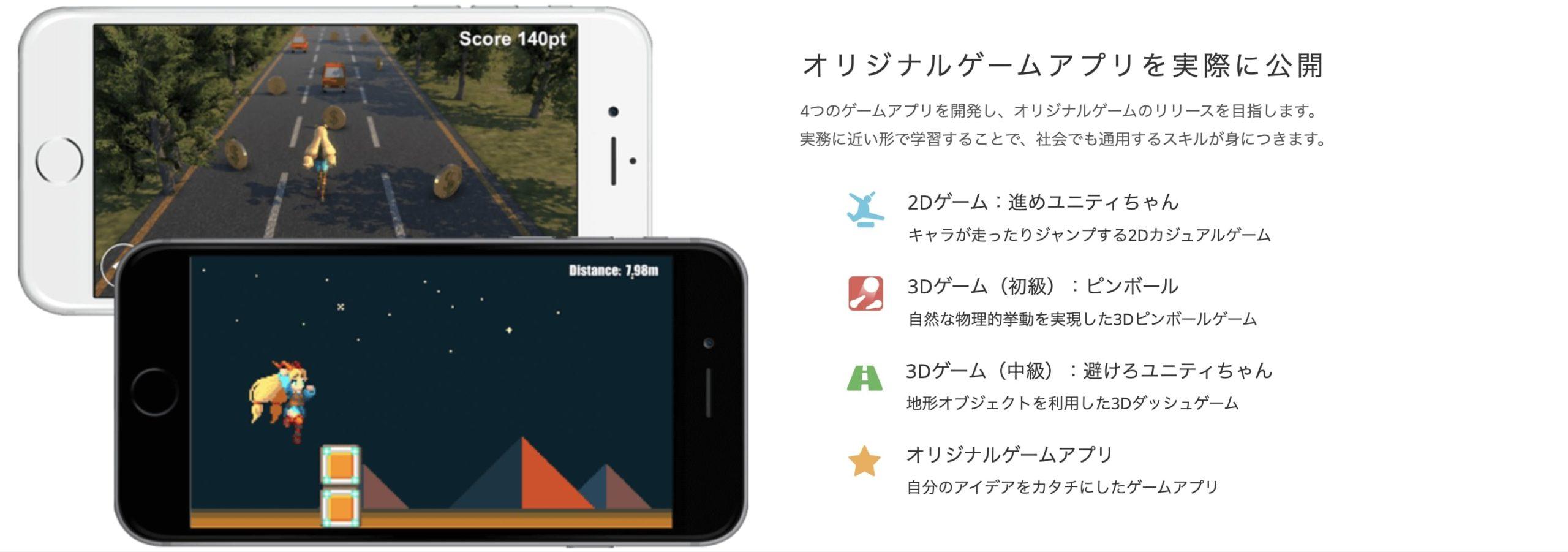 テックアカデミー Unityコースで作成するアプリ