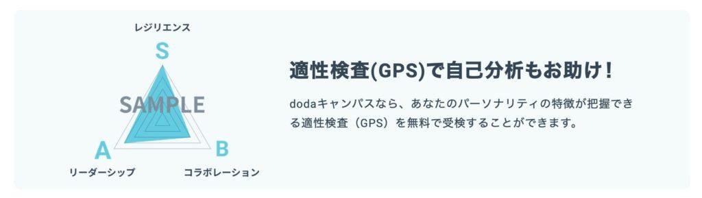 dodaキャンパスの適性検査GPS機能